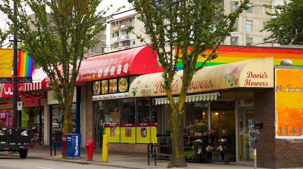 West End ofreciendo señalización, una ciudad y imágenes de calles