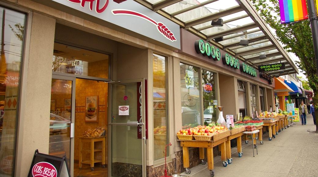 West End que incluye mercados, señalización y comida