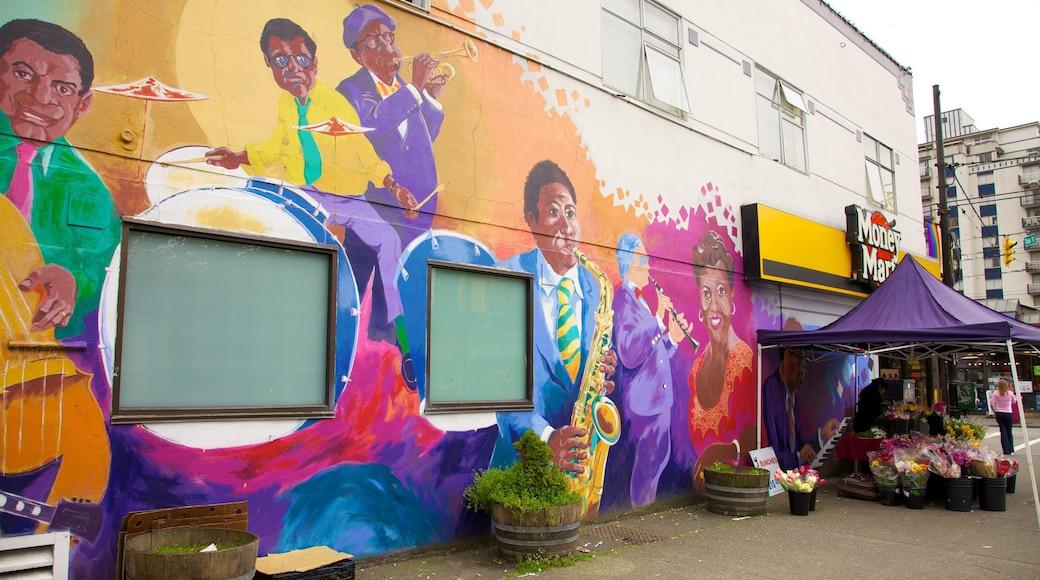 West End ofreciendo flores, una ciudad y arte al aire libre
