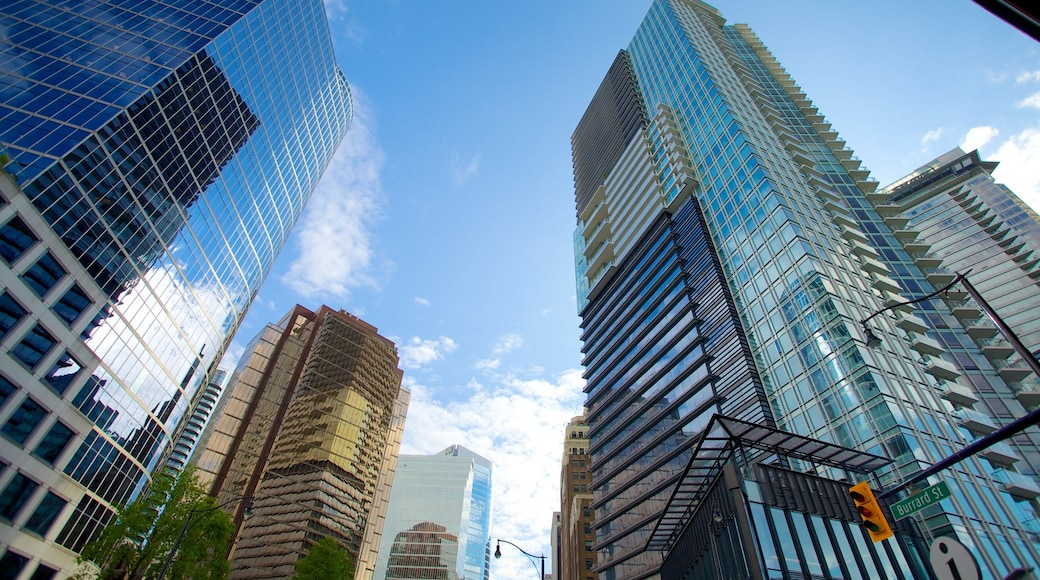 Downtown Vancouver which includes a city, modern architecture and a skyscraper