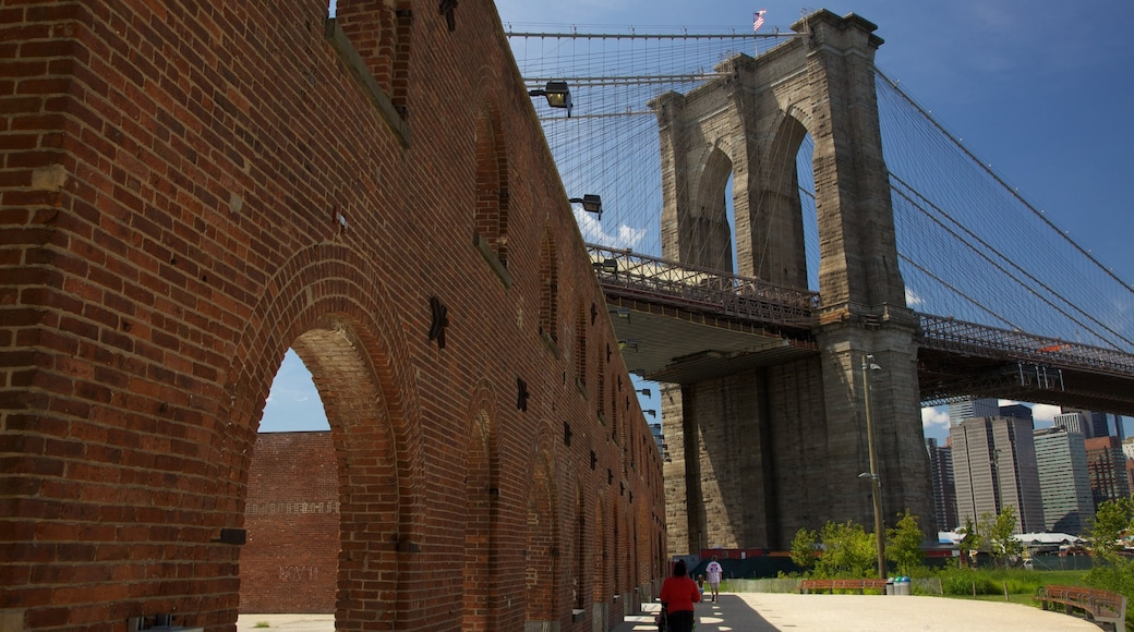 Brooklyn Bridge Park which includes a bridge and heritage architecture