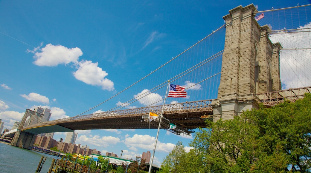 Brooklyn Bridge featuring a bridge, a city and heritage architecture