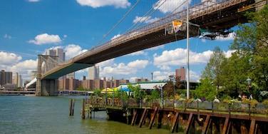 Parque de Brooklyn Bridge ofreciendo una ciudad, horizonte y un río o arroyo