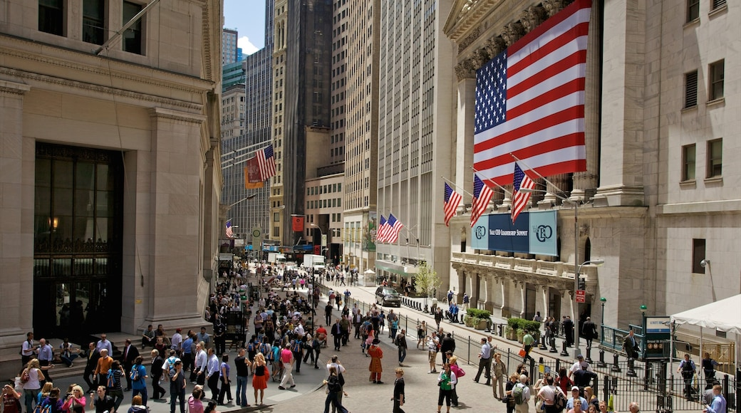 Wall Street - Financial District showing street scenes, an administrative buidling and a city