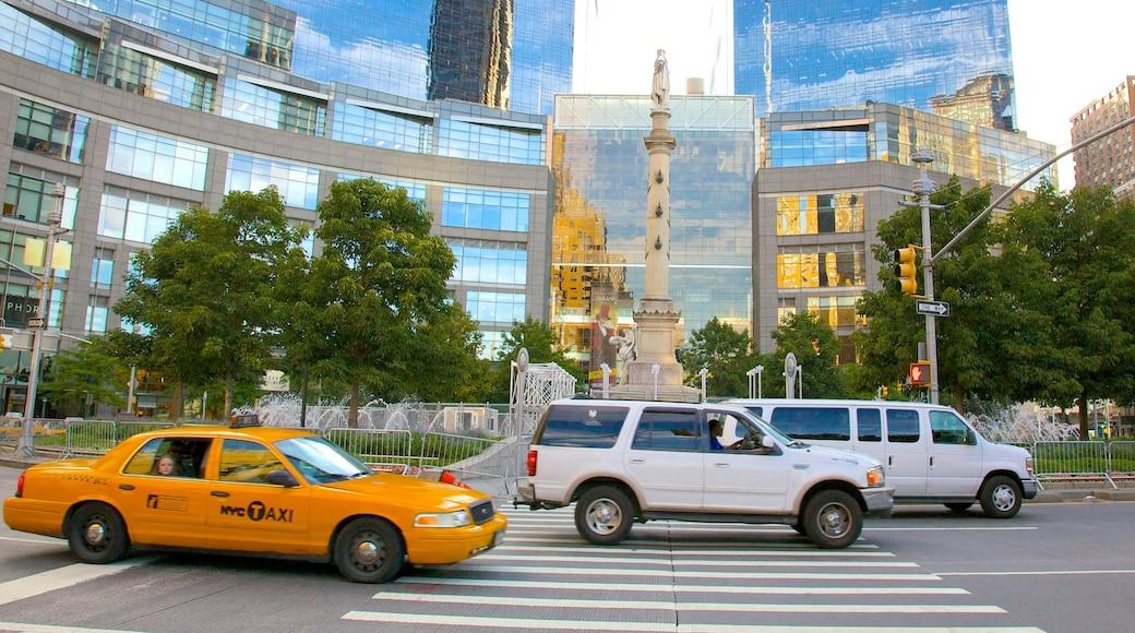 Columbus Circle ofreciendo una ciudad, imágenes de calles y arquitectura moderna