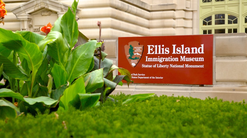 Ellis Island which includes signage