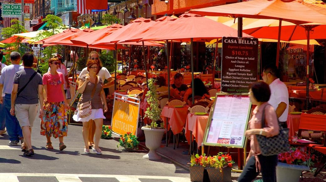 Little Italy caratteristiche di mangiare all\'aperto, strade e città