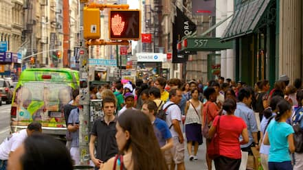 SoHo - Tribeca showing a city and street scenes as well as a large group of people