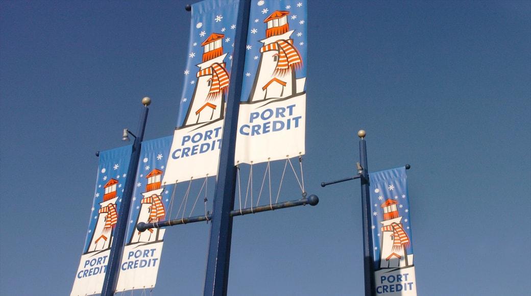Port Credit showing signage
