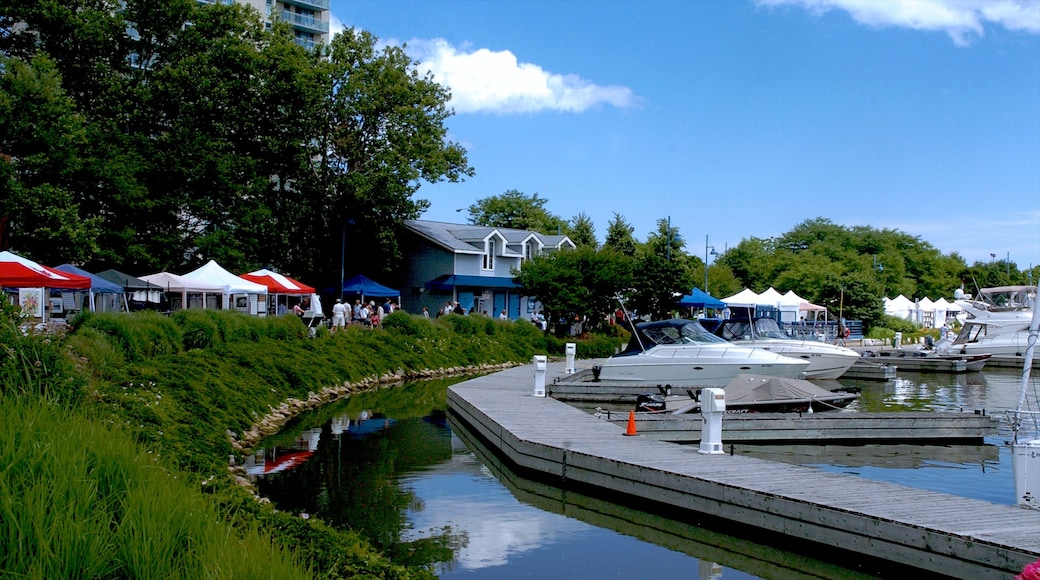 Port Credit featuring a house, a lake or waterhole and a marina