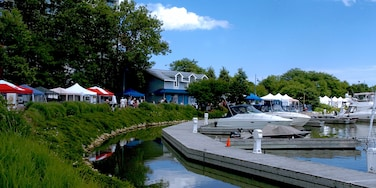 Port Credit showing a house, a marina and a lake or waterhole