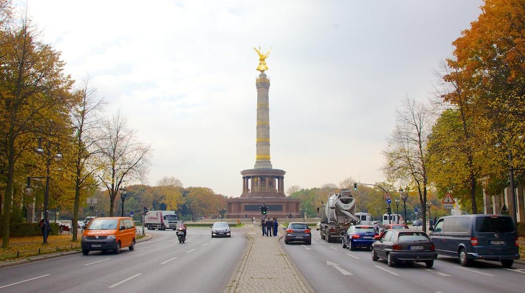 Siegessäule welches beinhaltet Straßenszenen, Herbstfarben und Monument