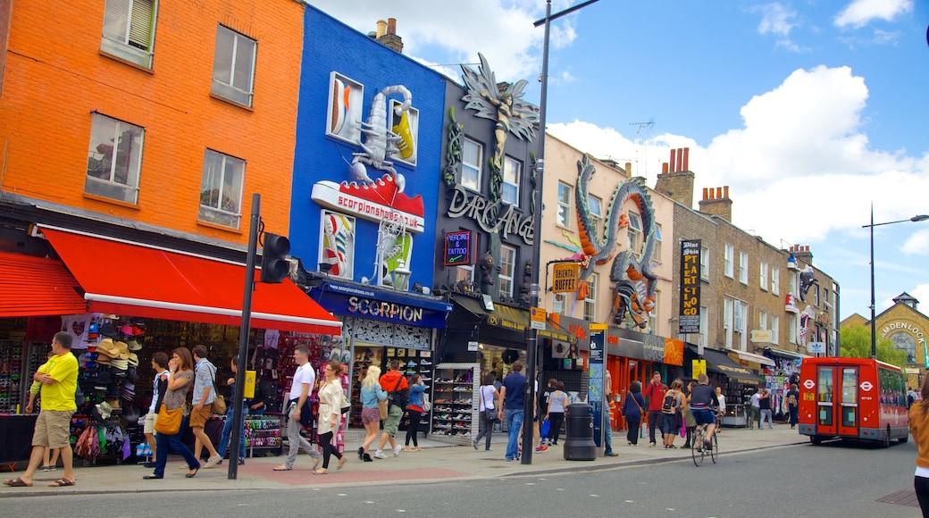 Camden Town som inkluderar shopping