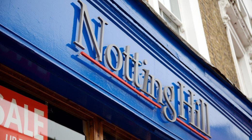 Notting Hill toont bewegwijzering