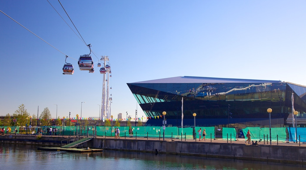 O2 Arena showing modern architecture, a river or creek and a gondola