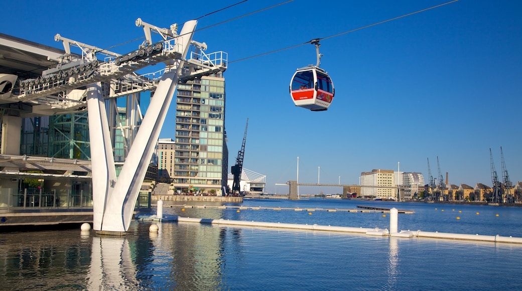 O2 Arena which includes modern architecture, a bay or harbour and a gondola