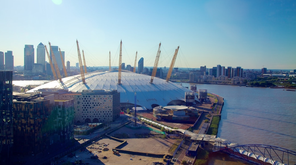 O2 Arena featuring a river or creek, a city and modern architecture
