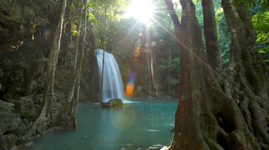 Kanchanaburi som visar ett vattenfall, en sjö eller ett vattenhål och regnskog