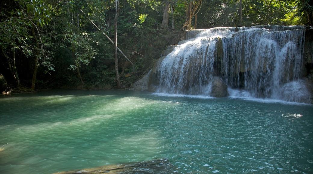 Erawan nationalpark som visar skogslandskap, en kaskad och en å eller flod