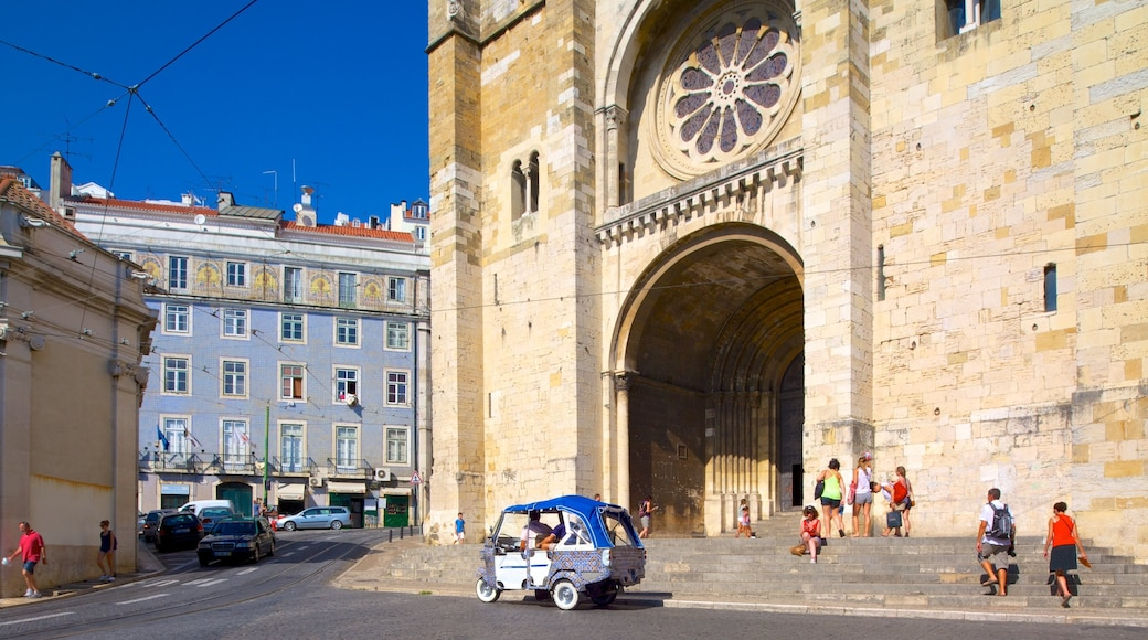 Lisbon Cathedral showing a church or cathedral, heritage architecture and a city