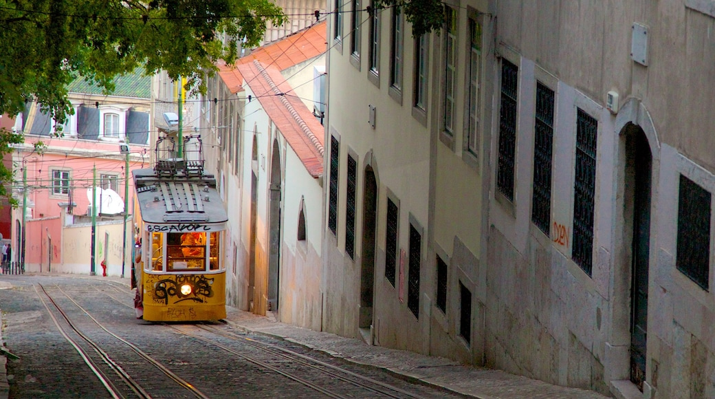 Chiado which includes a city and railway items