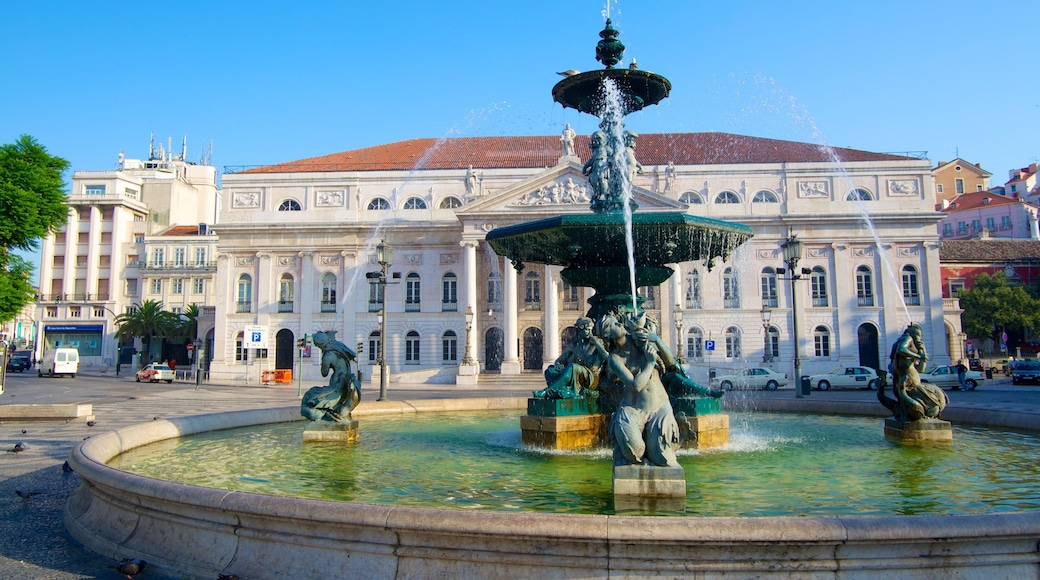 Lisbon Old Town featuring a fountain and heritage architecture