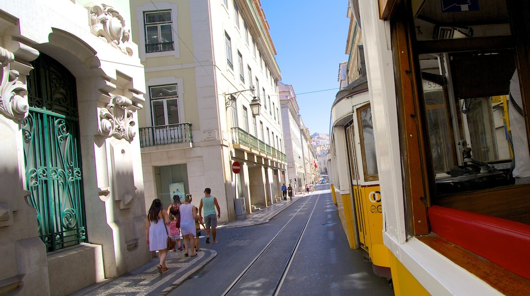 Lisbon featuring a city, railway items and street scenes