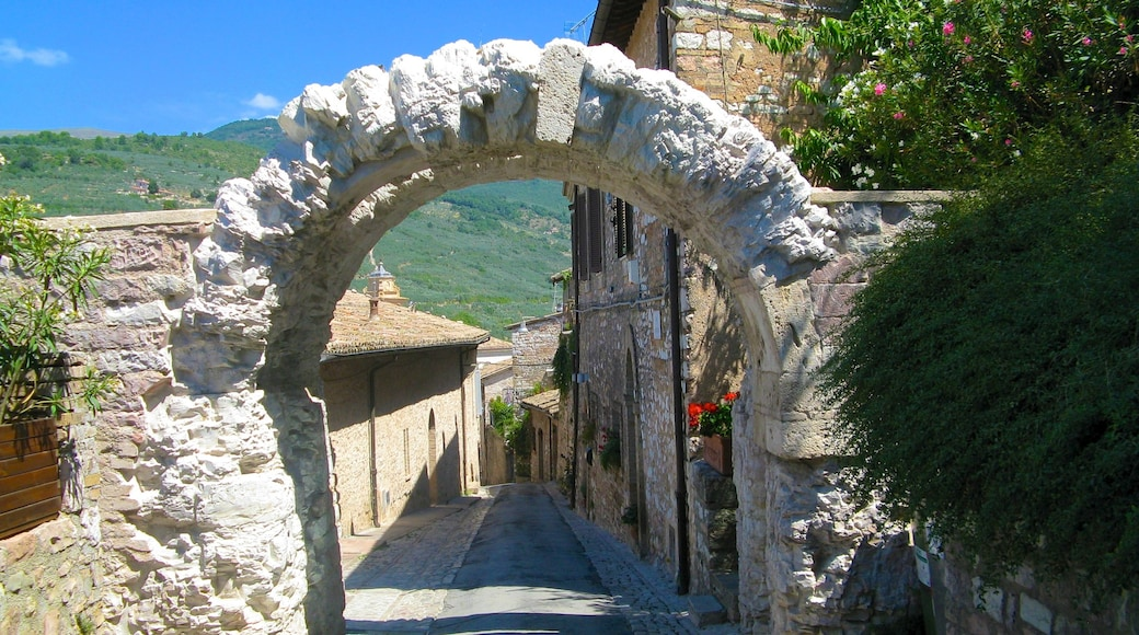 Spello mit einem historische Architektur und Kleinstadt oder Dorf