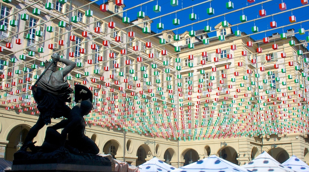 Turin featuring outdoor art, a statue or sculpture and a square or plaza