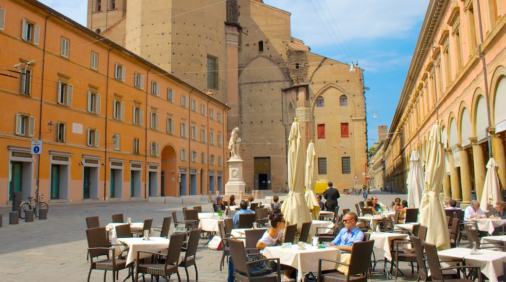 Bologna featuring a square or plaza, heritage architecture and outdoor eating