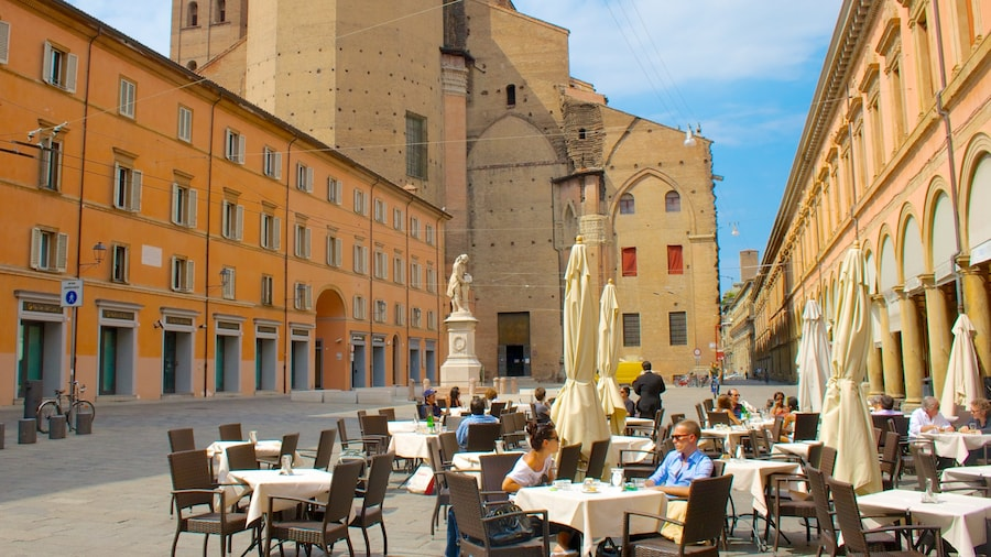 Bologna featuring outdoor eating, heritage architecture and a square or plaza