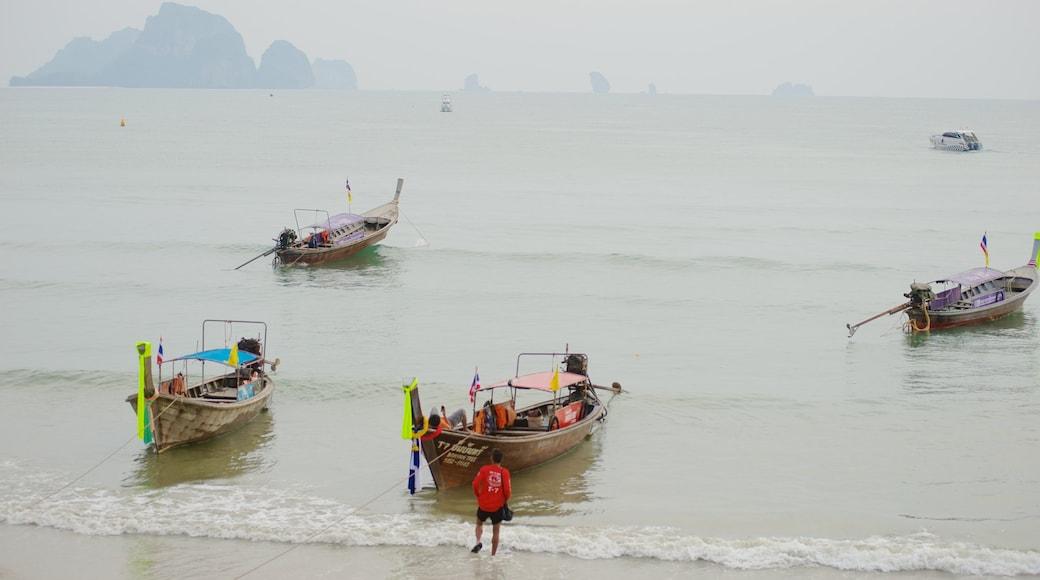 Ao Phra Nang Beach showing mist or fog, general coastal views and boating