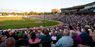 Fargo which includes a sporting event as well as a large group of people