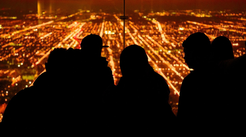 Willis Tower featuring views, a city and night scenes
