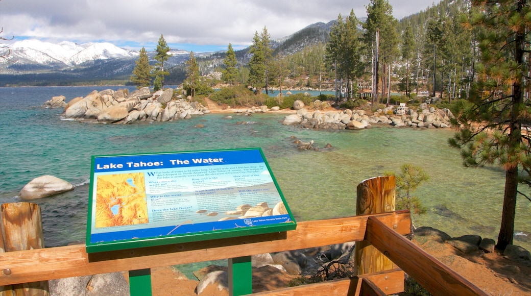 Sand Harbor featuring rugged coastline, a lake or waterhole and views