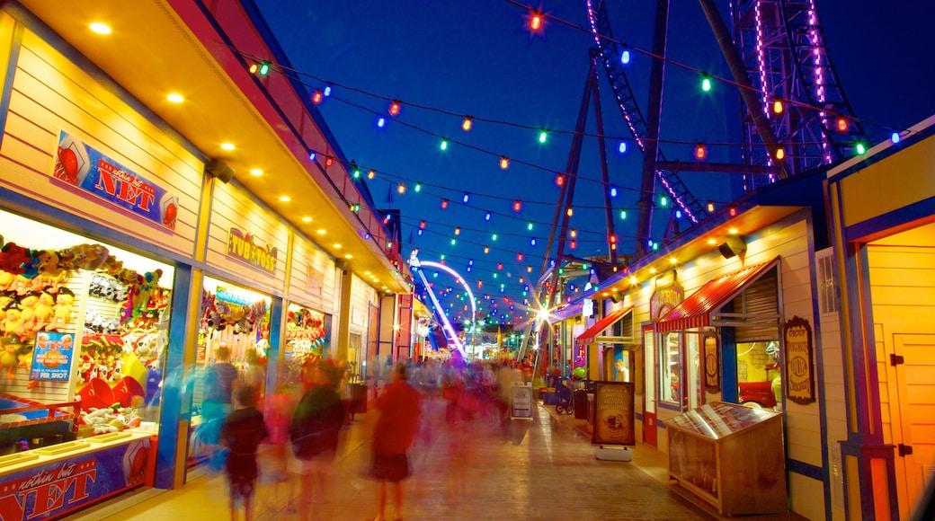 Galveston Island Historic Pleasure Pier showing night scenes and rides