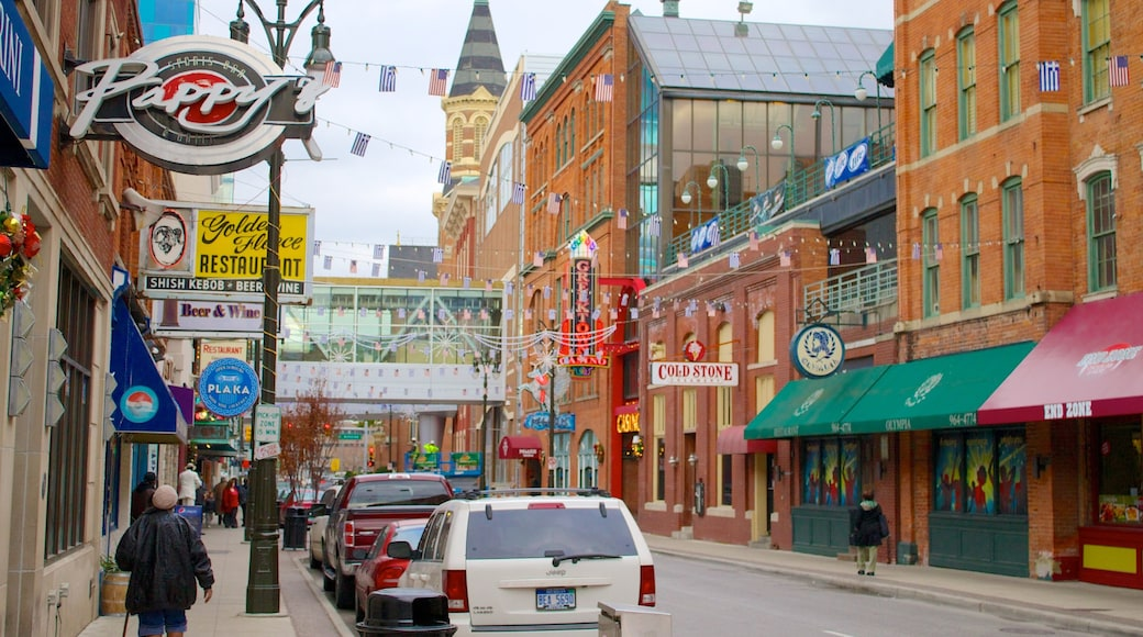 Downtown Detroit which includes heritage architecture, street scenes and signage