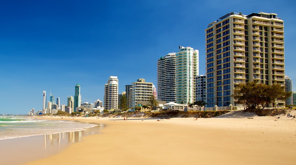 Southport showing cbd, a sandy beach and a high rise building