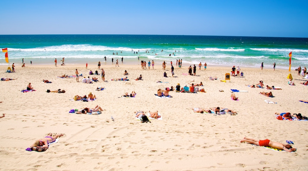 Surfers Paradise showing a beach and general coastal views as well as a large group of people