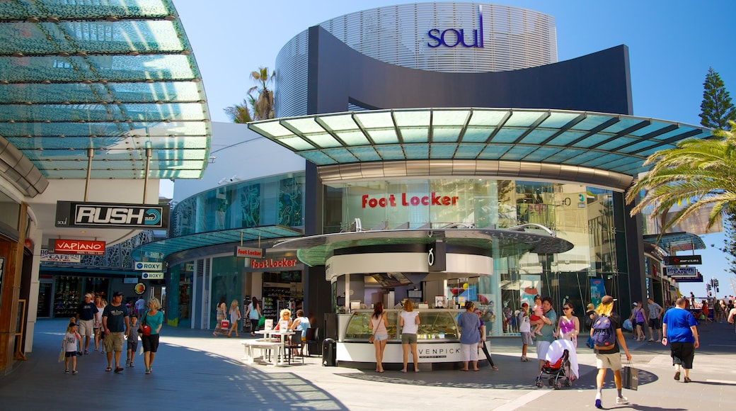 Surfers Paradise showing modern architecture, signage and a city