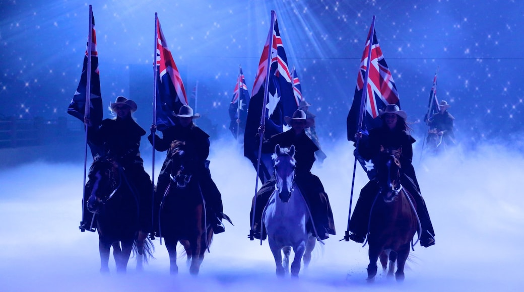 Australian Outback Spectacular featuring performance art, horseriding and interior views