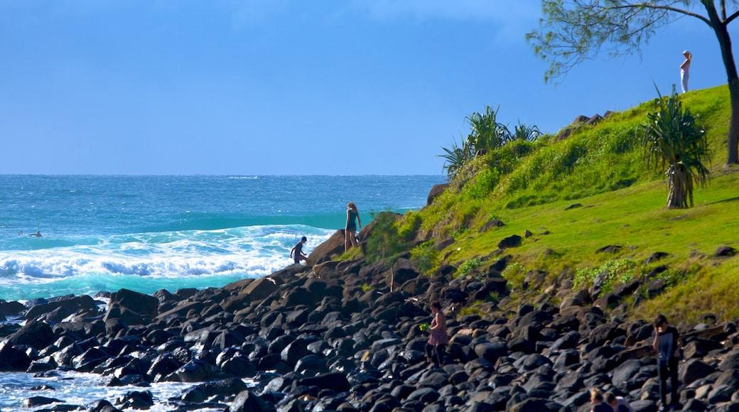 Burleigh Heads featuring rocky coastline