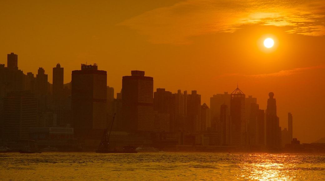 Hong Kong featuring central business district, a city and a sunset