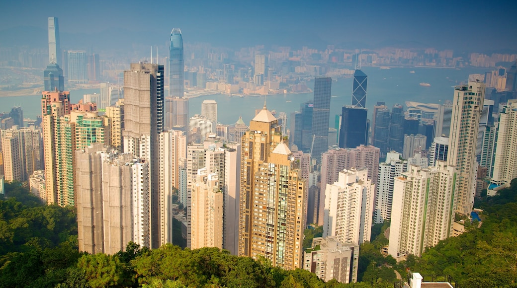 Victoria Peak Tower featuring a city, city views and modern architecture