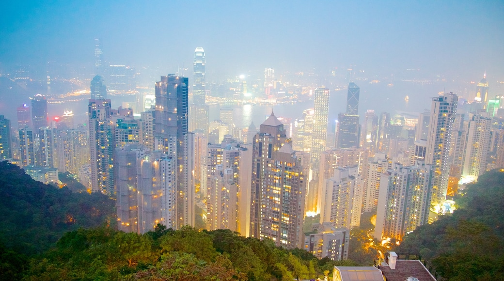 Victoria Peak Tower which includes modern architecture, skyline and a city