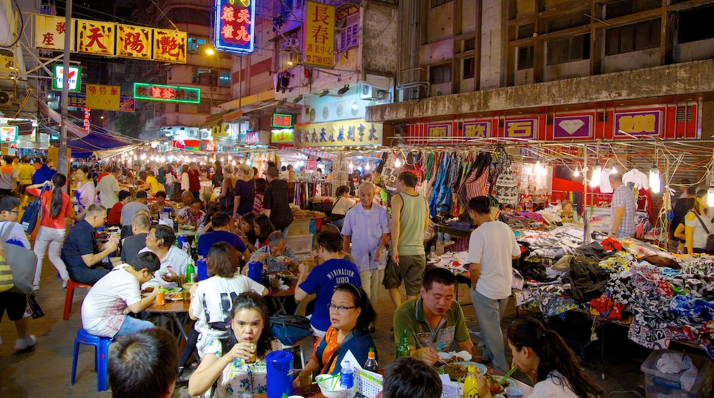 Kowloon showing outdoor eating, night scenes and street scenes