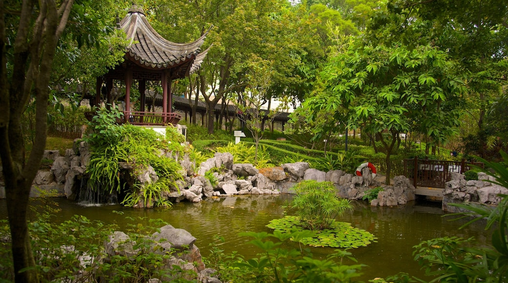 Kowloon Walled City Park featuring a park and a pond