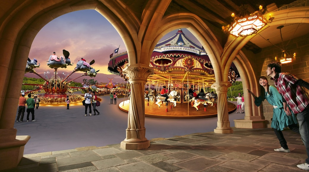 Hong Kong Disneyland which includes rides and interior views