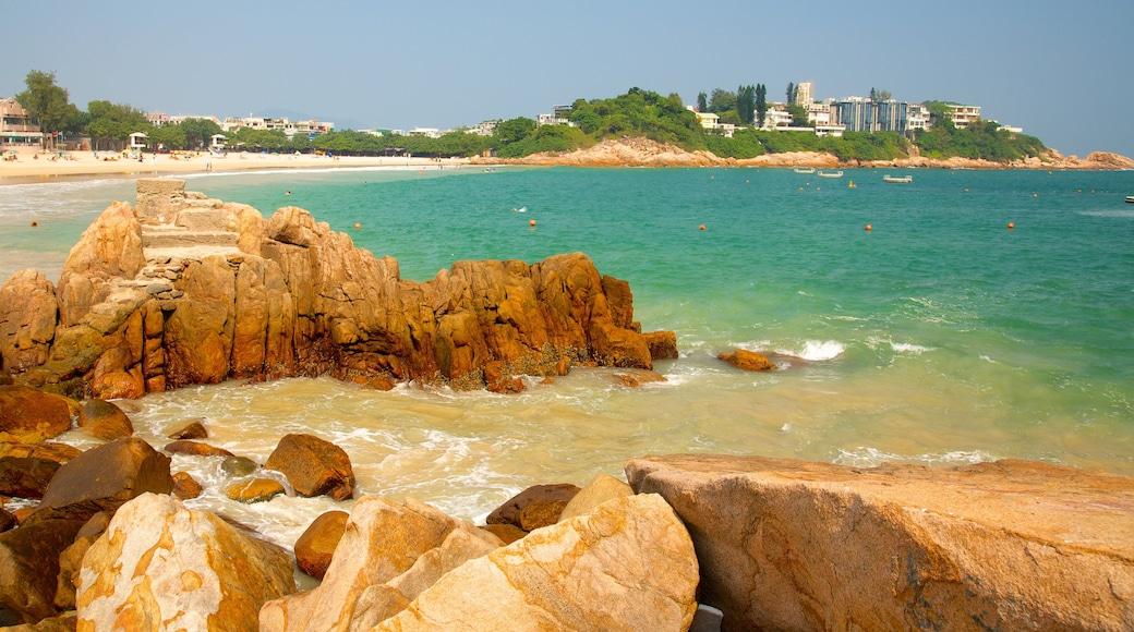 Shek O Beach featuring rocky coastline and general coastal views