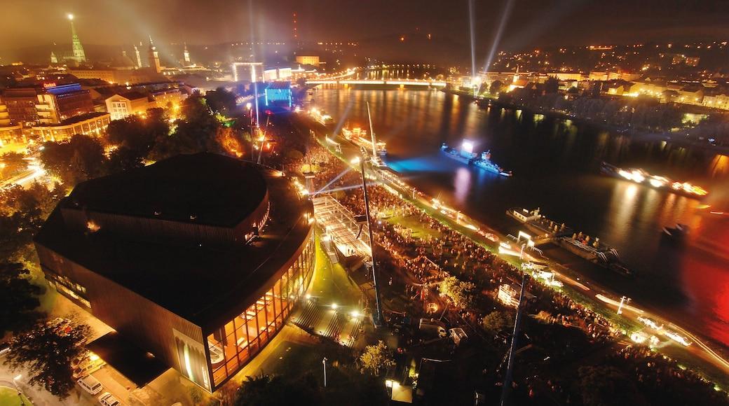 Linz das einen Bootfahren, bei Nacht und Stadt